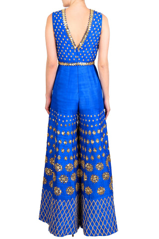 Electric Blue Raw Silk Jumpsuit With Mirrors & Sequined Embroidered Belt