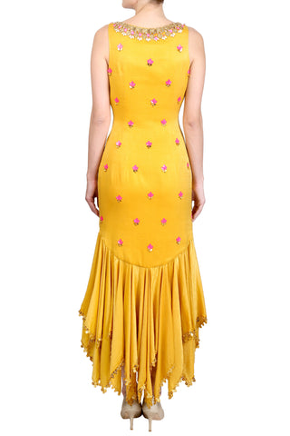 Mustard Yellow Satin Handkerchief Panelled Suit