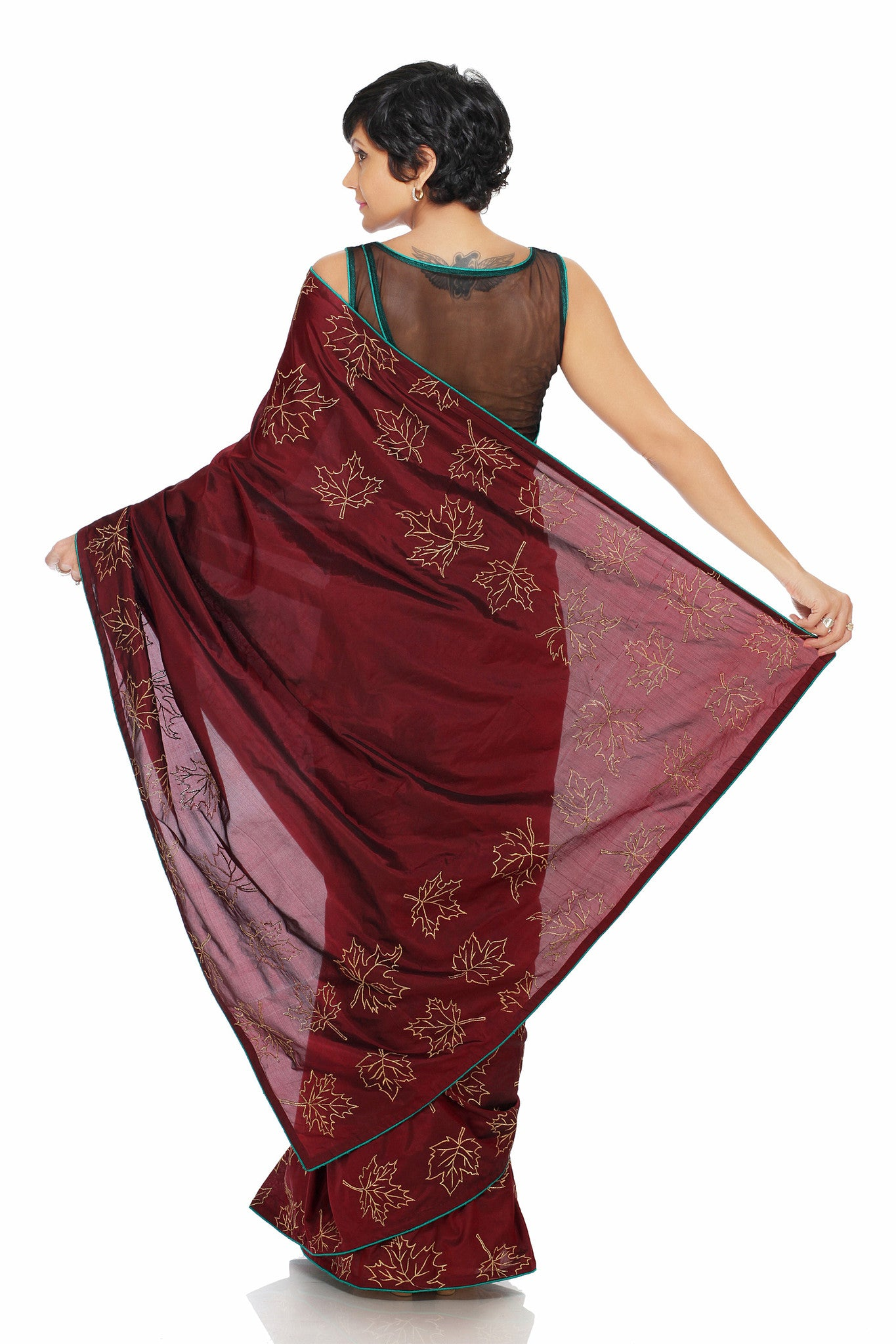 Maroon Silk Saree Back