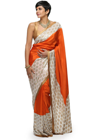 Orange Silk Saree Front