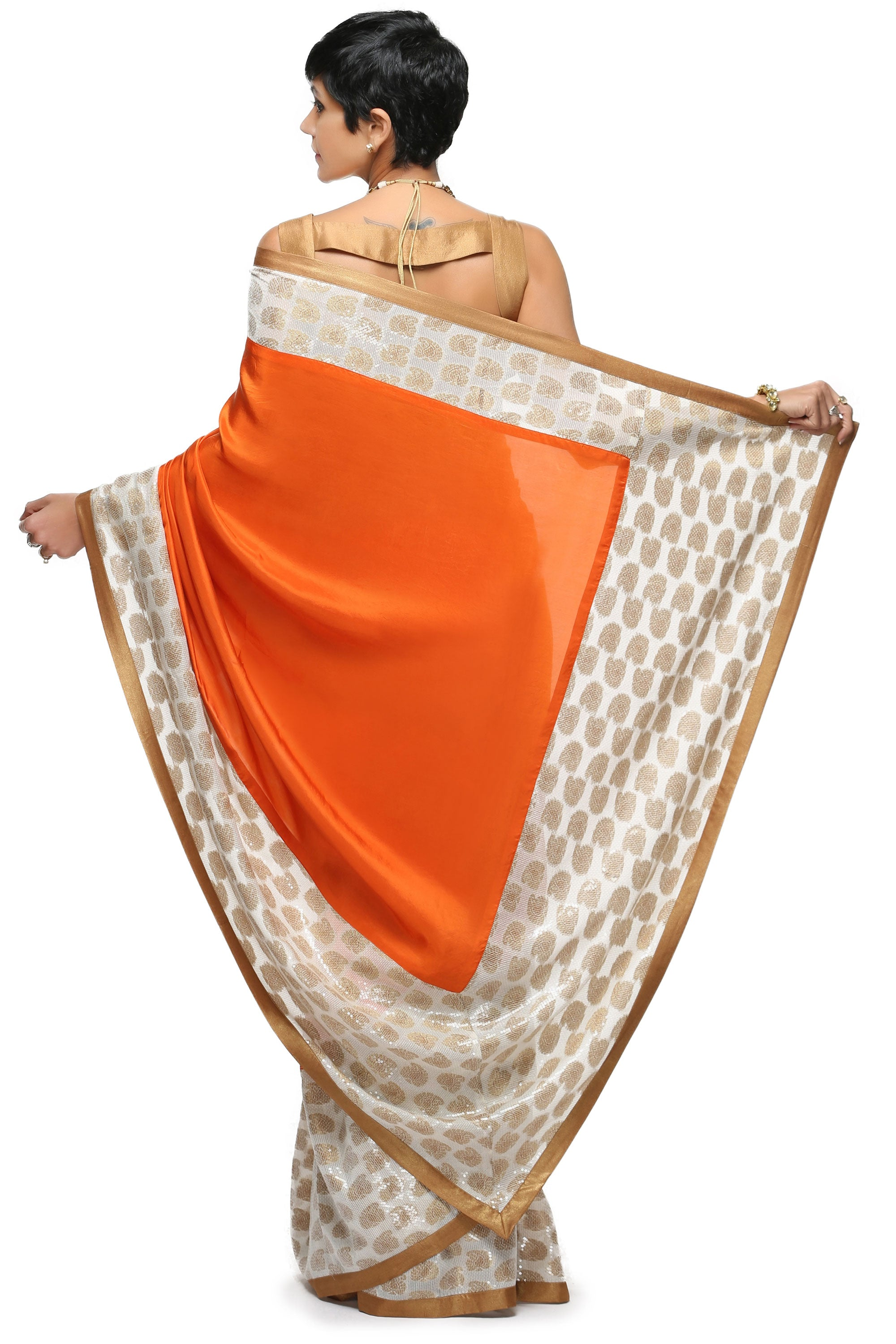 Orange Silk Saree Back