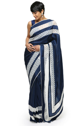 Navy Blue Silk Saree Front