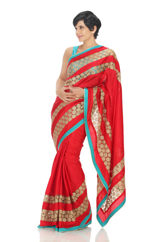 Red & Gold Silk Saree Front