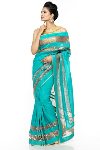Sea Green Linen Saree Front