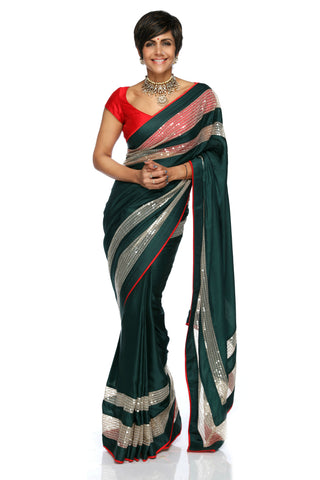 Bottle Green Satin Saree FRONT