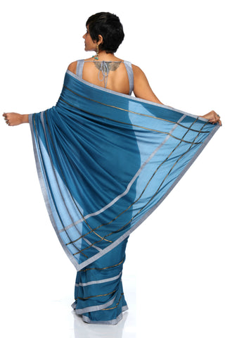 Teal Blue Embroidered Silk Saree