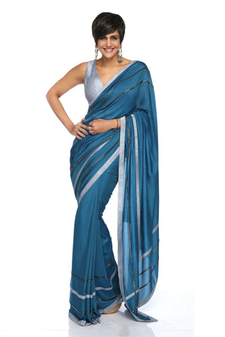 Teal Blue Embroidered Silk Saree FRONT