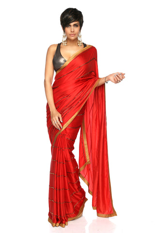 Red Embroidery Saree FRONT