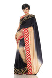 Black & Cream Silk Saree Front