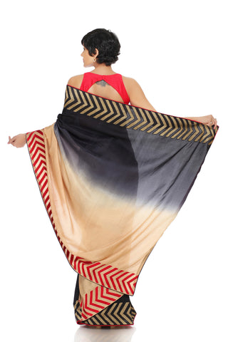 Black & Cream Silk Saree