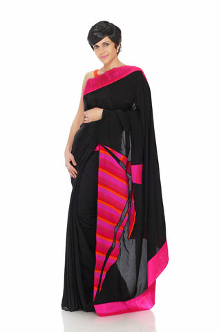 Black Crepe Saree Front