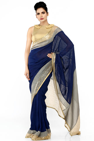 Blue Linen Saree Front