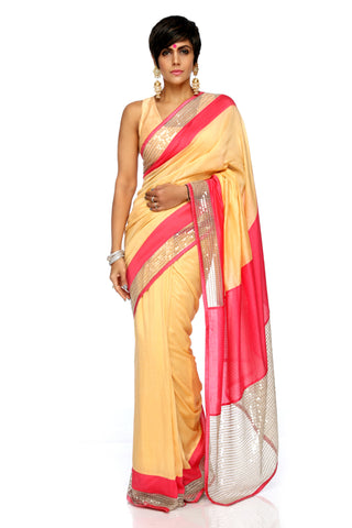 Beige Linen Saree With Double Border FRONT