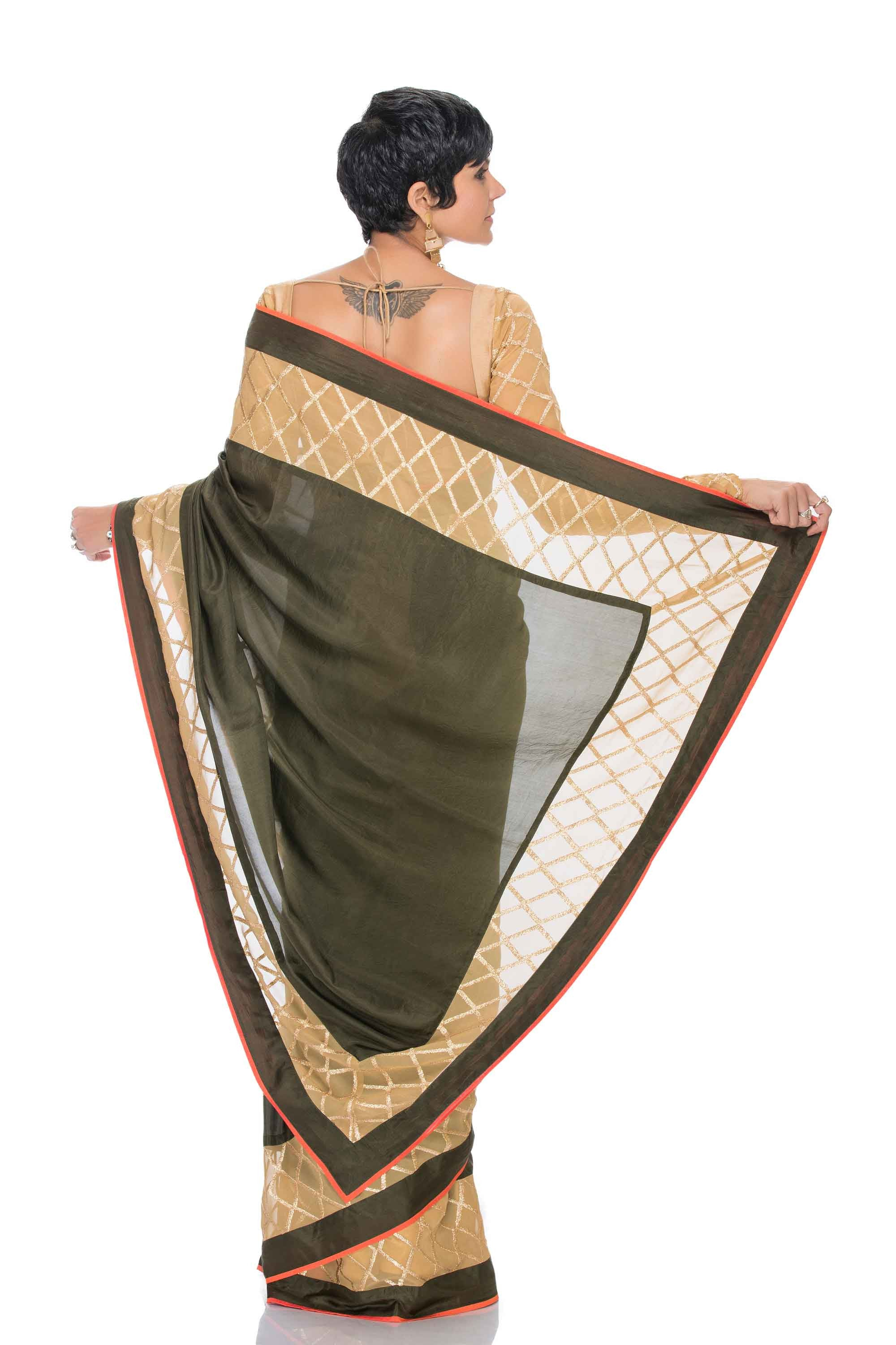 Olive Silk Saree Back