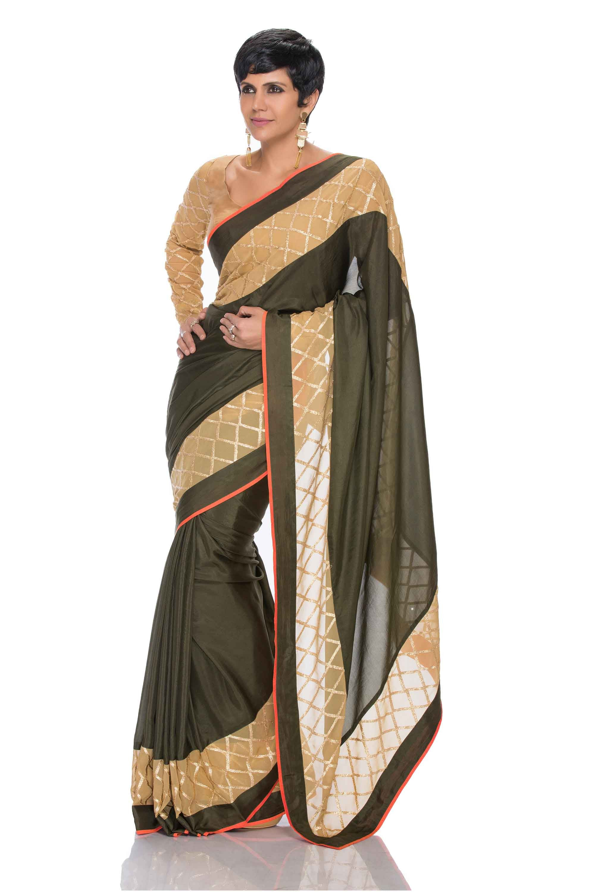 Olive Silk Saree Front