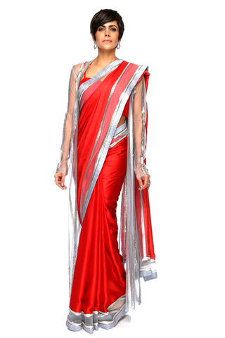 Red Satin Saree With Sequins Jacket FRONT