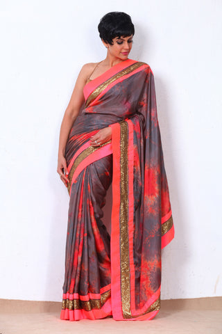 Grey & Coral Satin Silk Saree