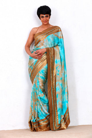 Beige & Blue Silk Saree Full View