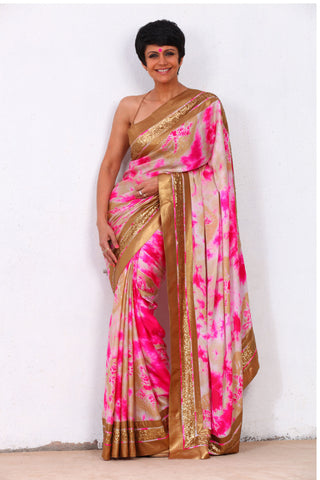 Beige & Pink Satin Silk Saree