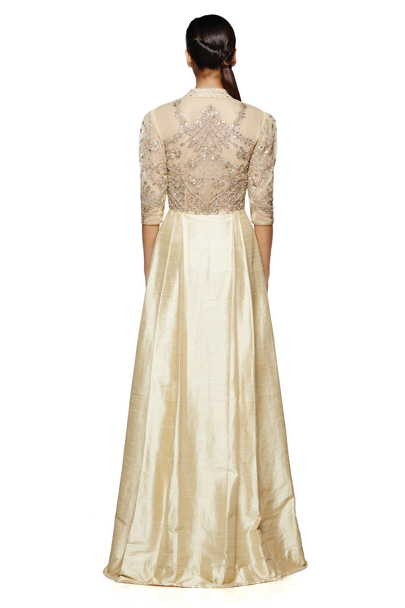 Sleeved Raw Silk Gown Back