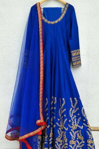 Azure Electric Blue Kundan Anarkali Full