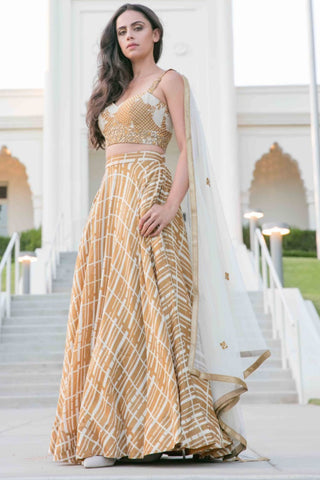Gold Chanderi Silk Printed Lehenga