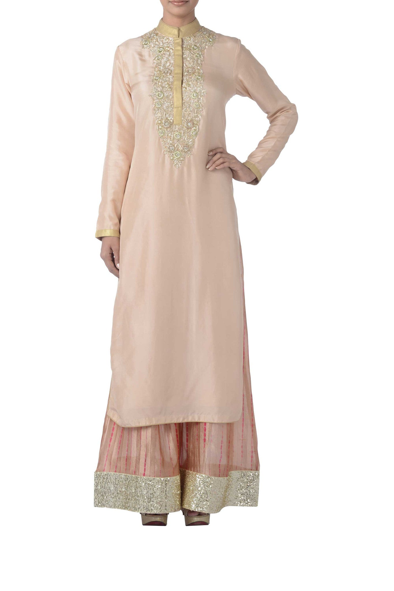 Coral & Light Gold Silk Suit Front