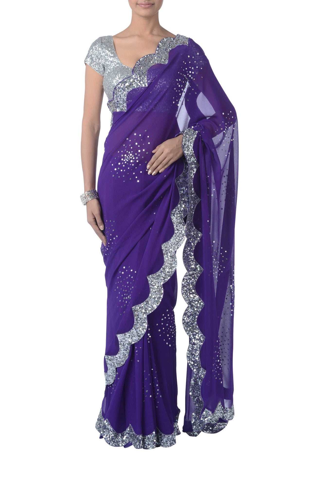 Purple & Silver Sequinned Saree Front
