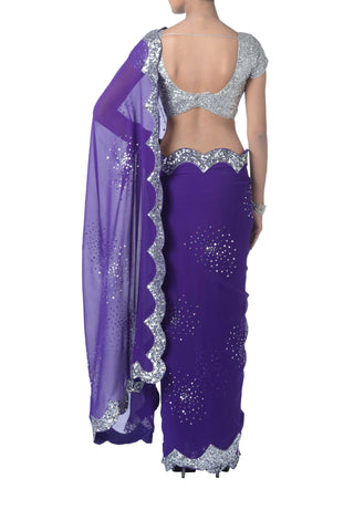 Purple & Silver Sequin Saree