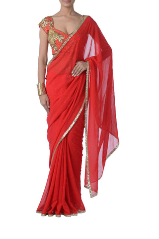 Red Georgette & Sequin Saree Front