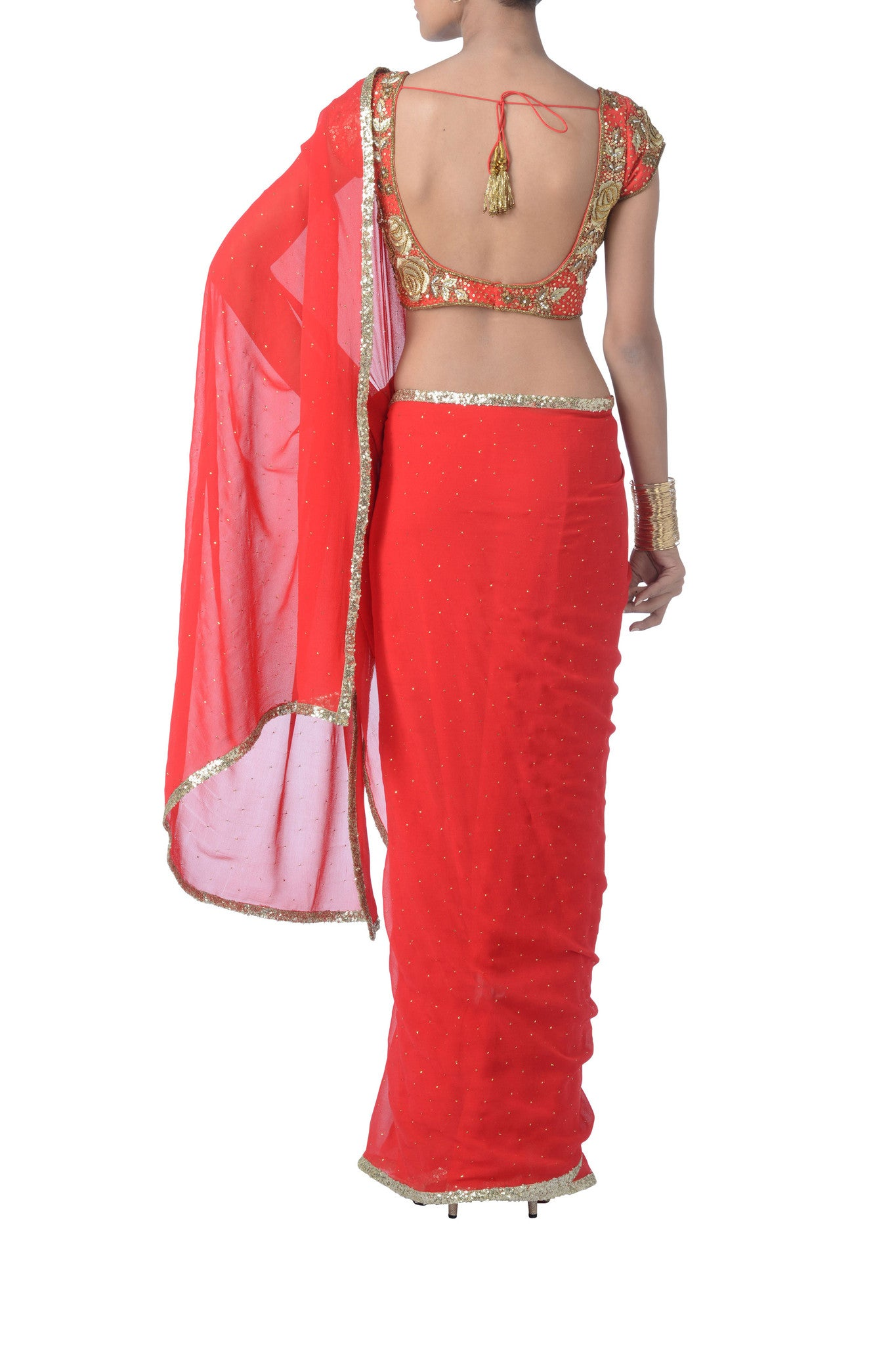 Red Georgette & Sequin Saree Back
