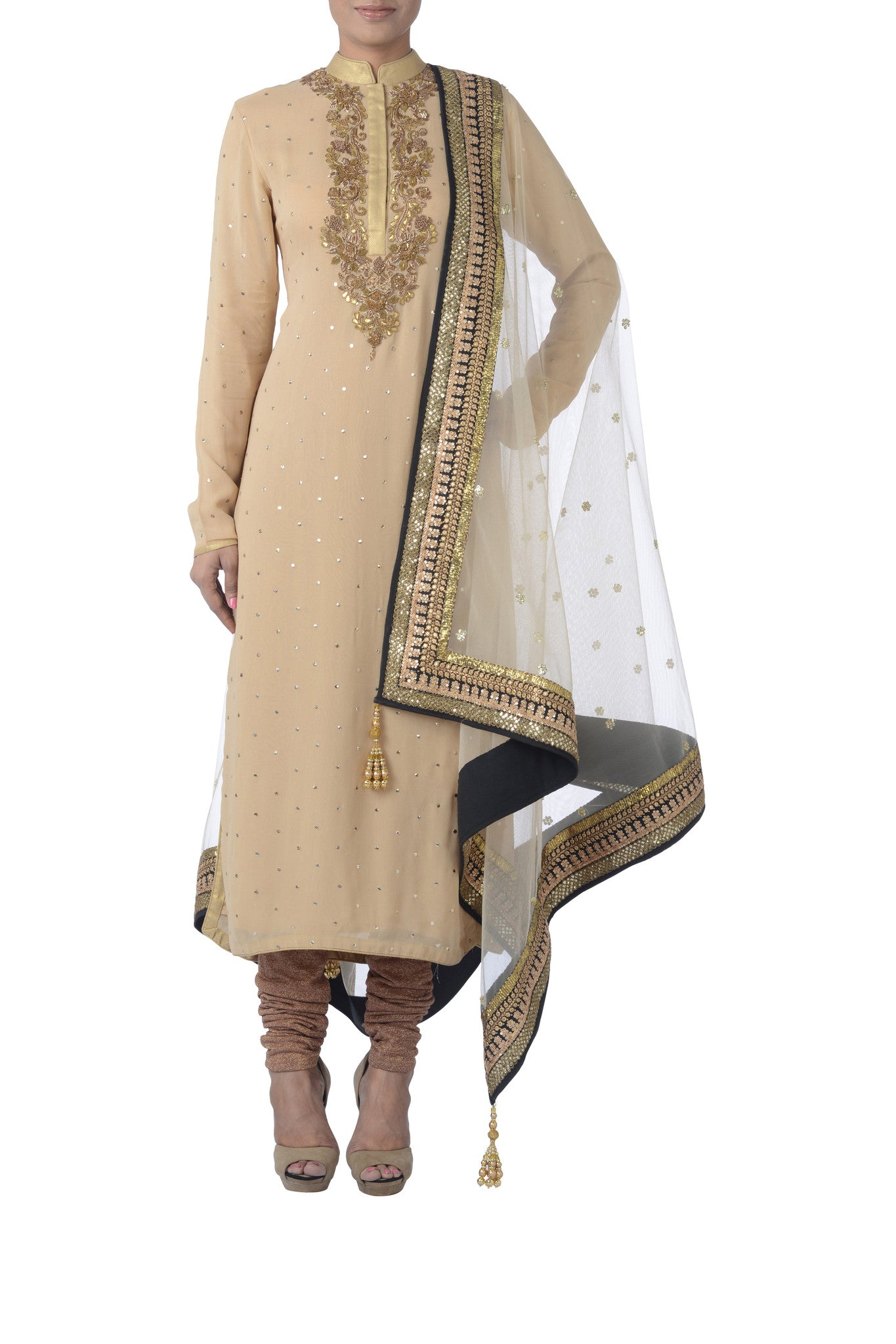 Cream & Gold Georgette Suit Front