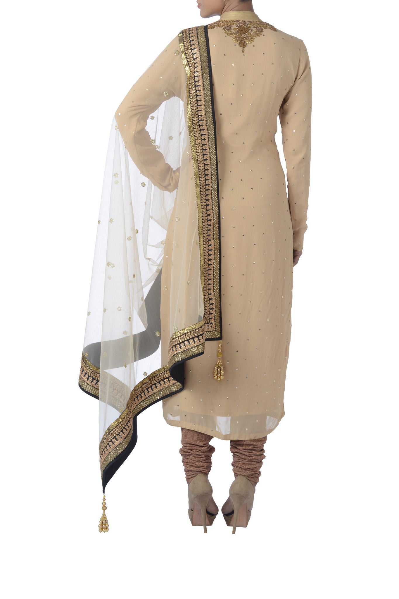 Cream & Gold Georgette Suit Back