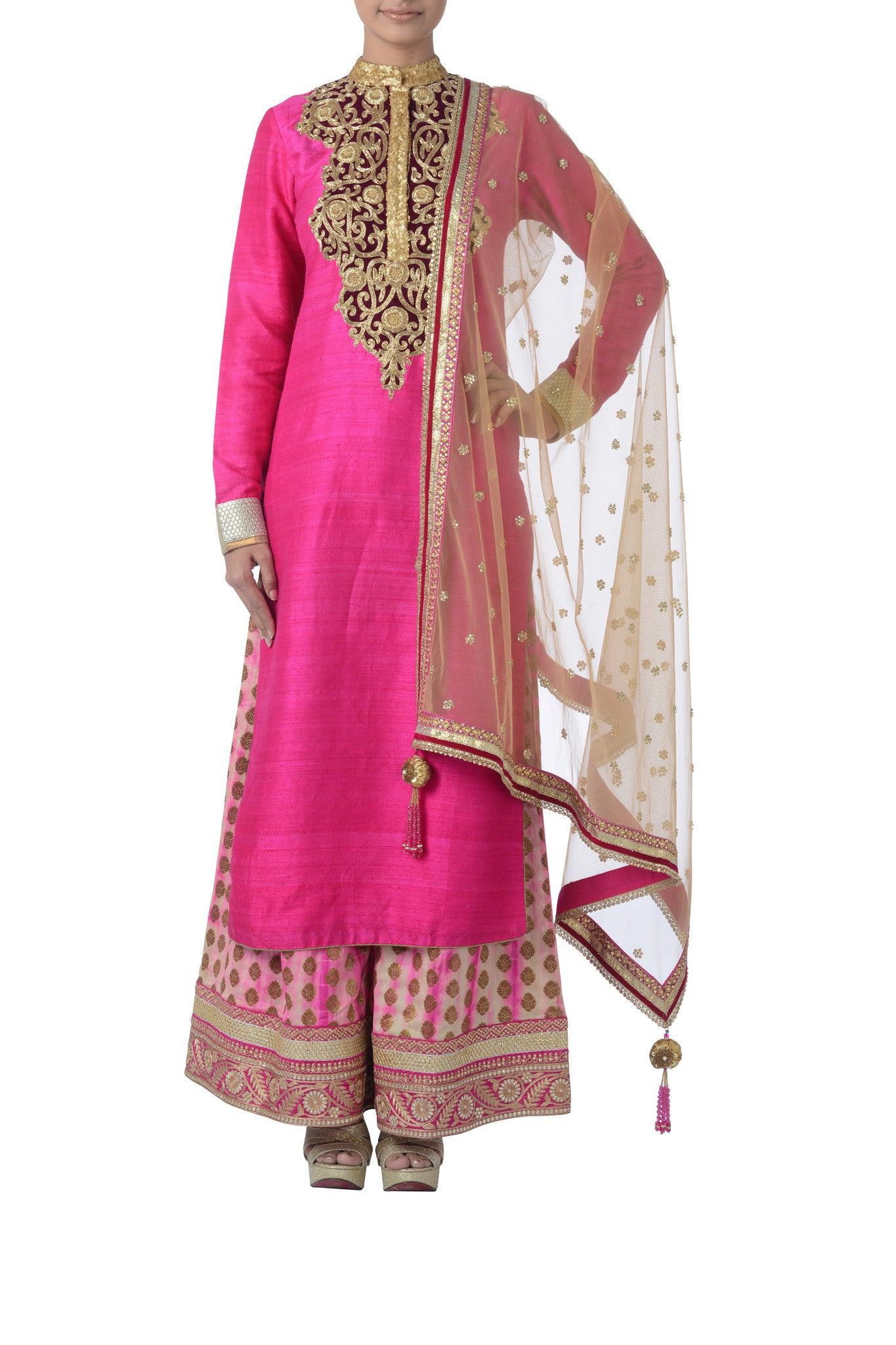 Pink & Gold Silk Suit Front