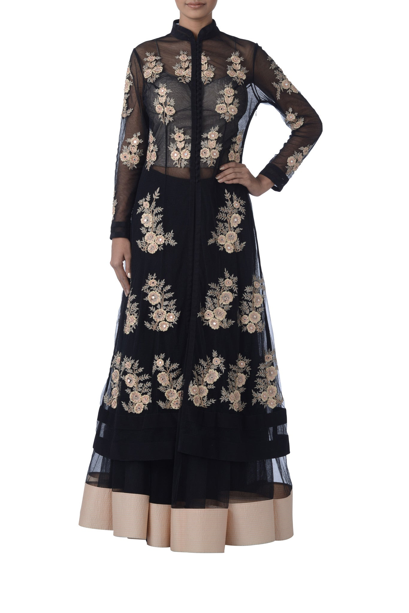 Black Resham Embroidered Suit Front