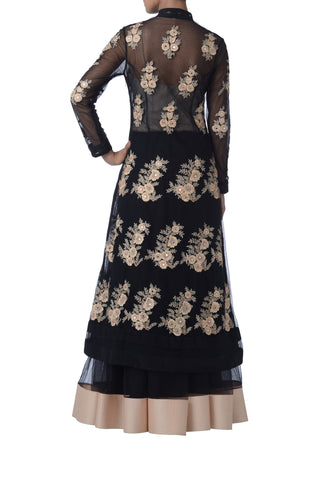 Black Resham Embroidered Suit