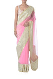 Pink & Gold Net Saree