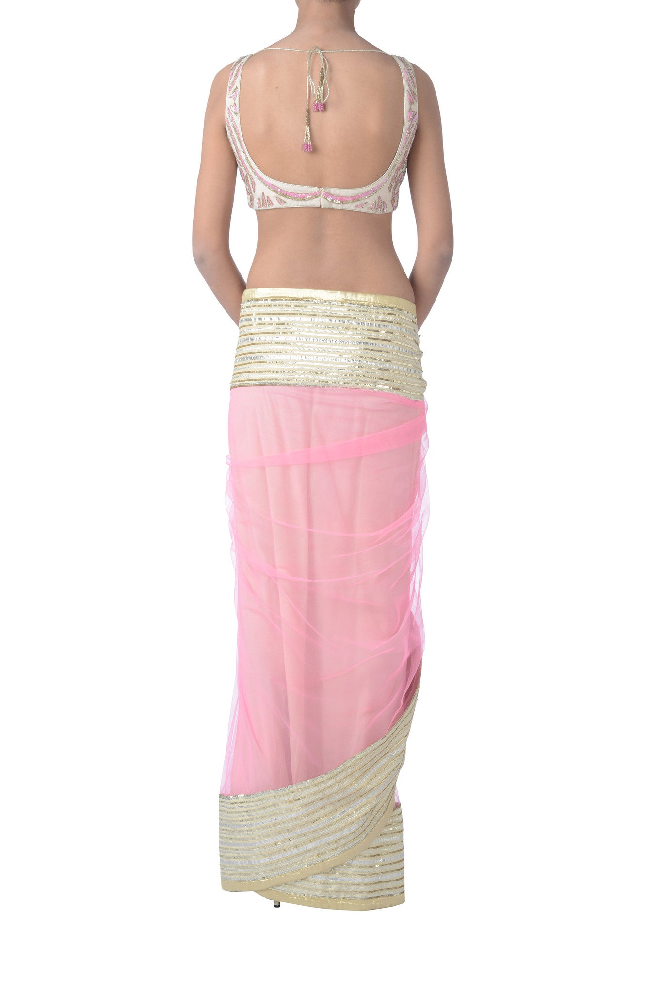 Pink & Gold Net Saree Blouse