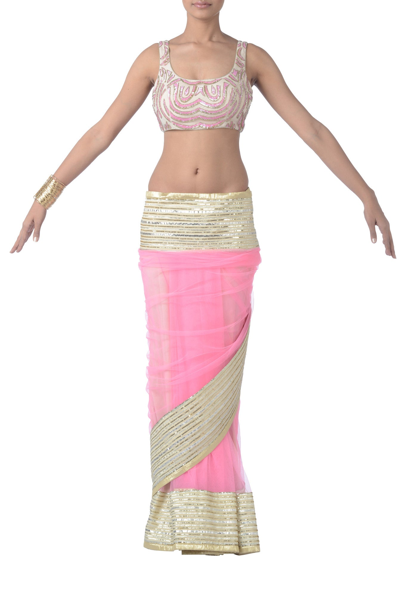 Pink & Gold Net Saree Back