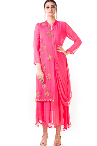 Pink Cowl Tunic Dress Front