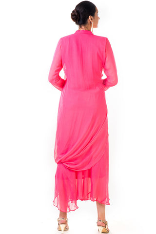 Pink Cowl Tunic Dress
