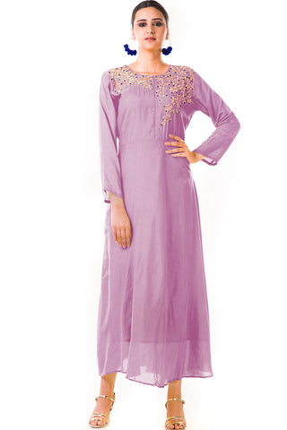 Mauve Sequin Work Silk Tunic Front