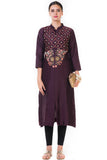 Chocolate Brown Floral Embroidered Salwar Suit FRONT