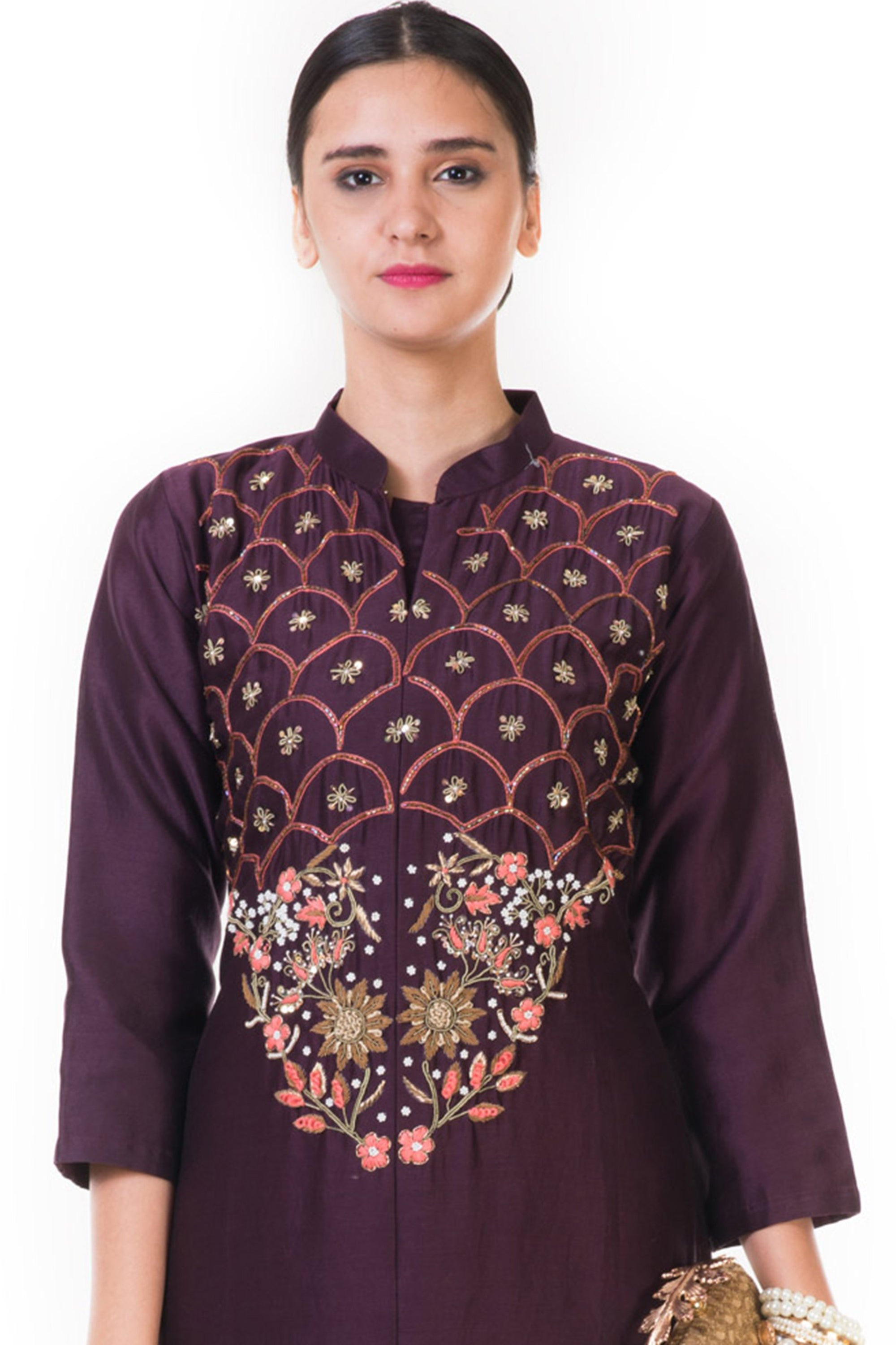 Chocolate Brown Floral Embroidered Salwar Suit CLOSE
