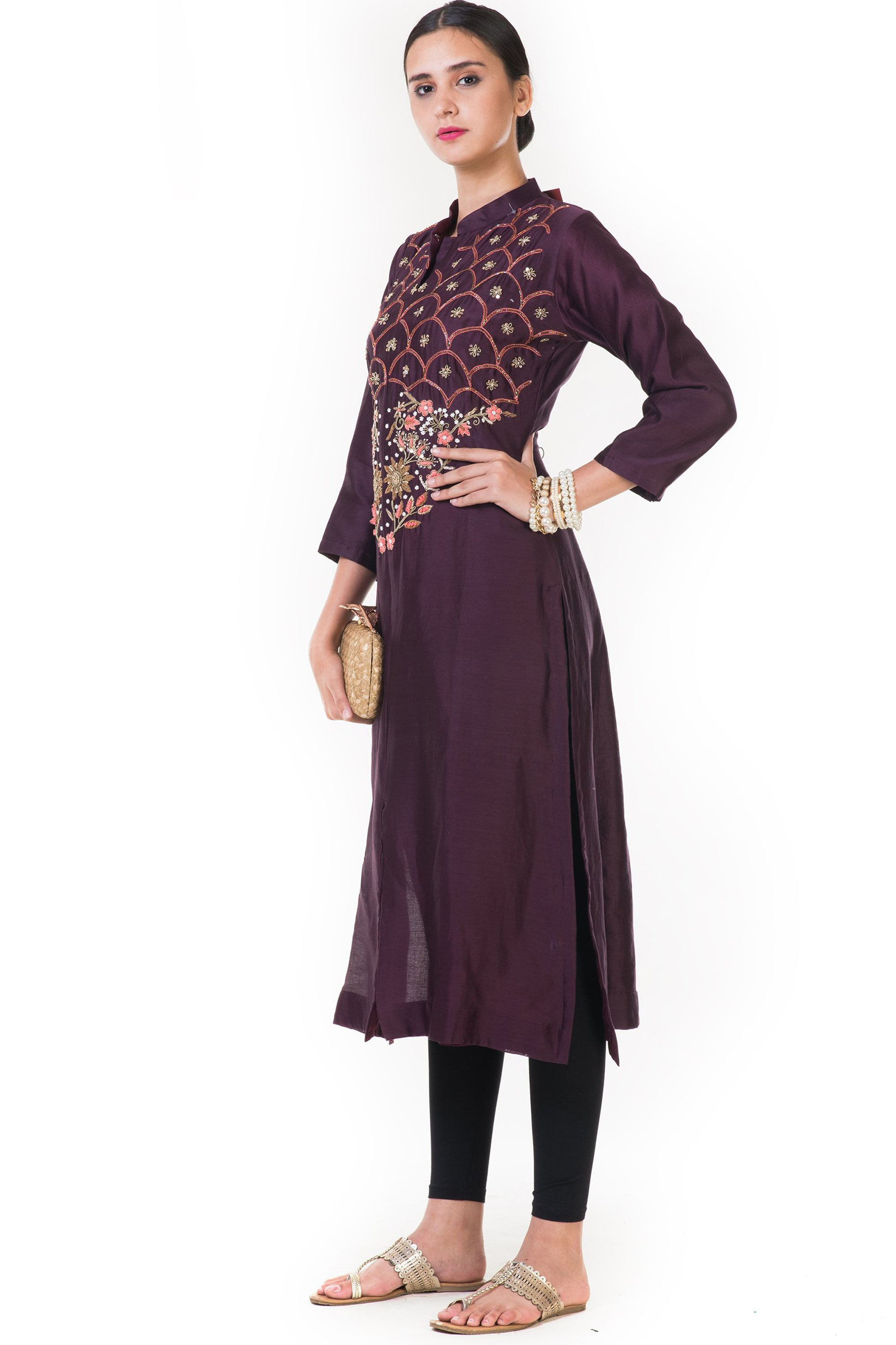 Chocolate Brown Floral Embroidered Salwar Suit SIDE