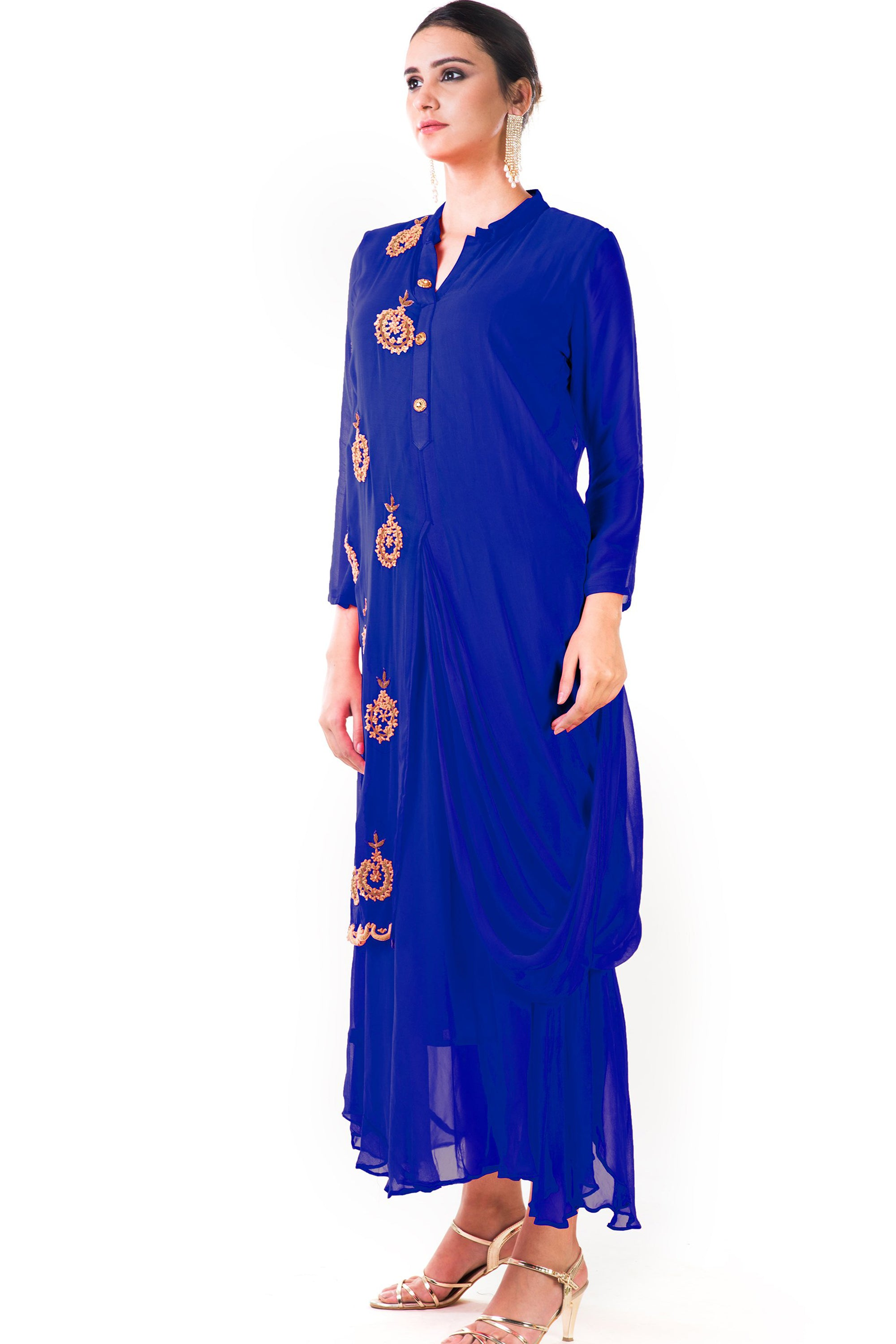 Blue Cowl Tunic Dress Side