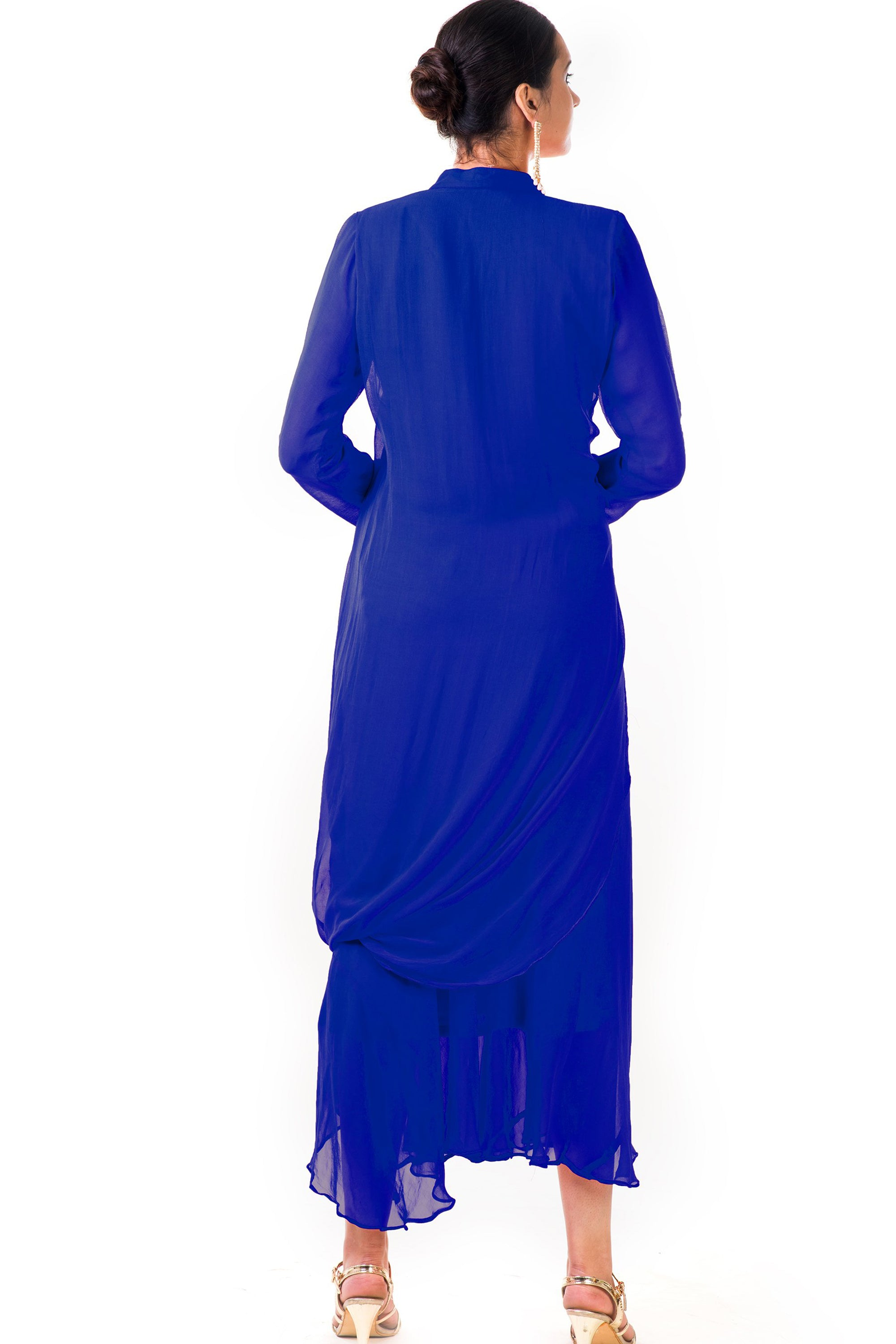 Blue Cowl Tunic Dress Back