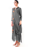 Grey Cowl Tunic Dress Side