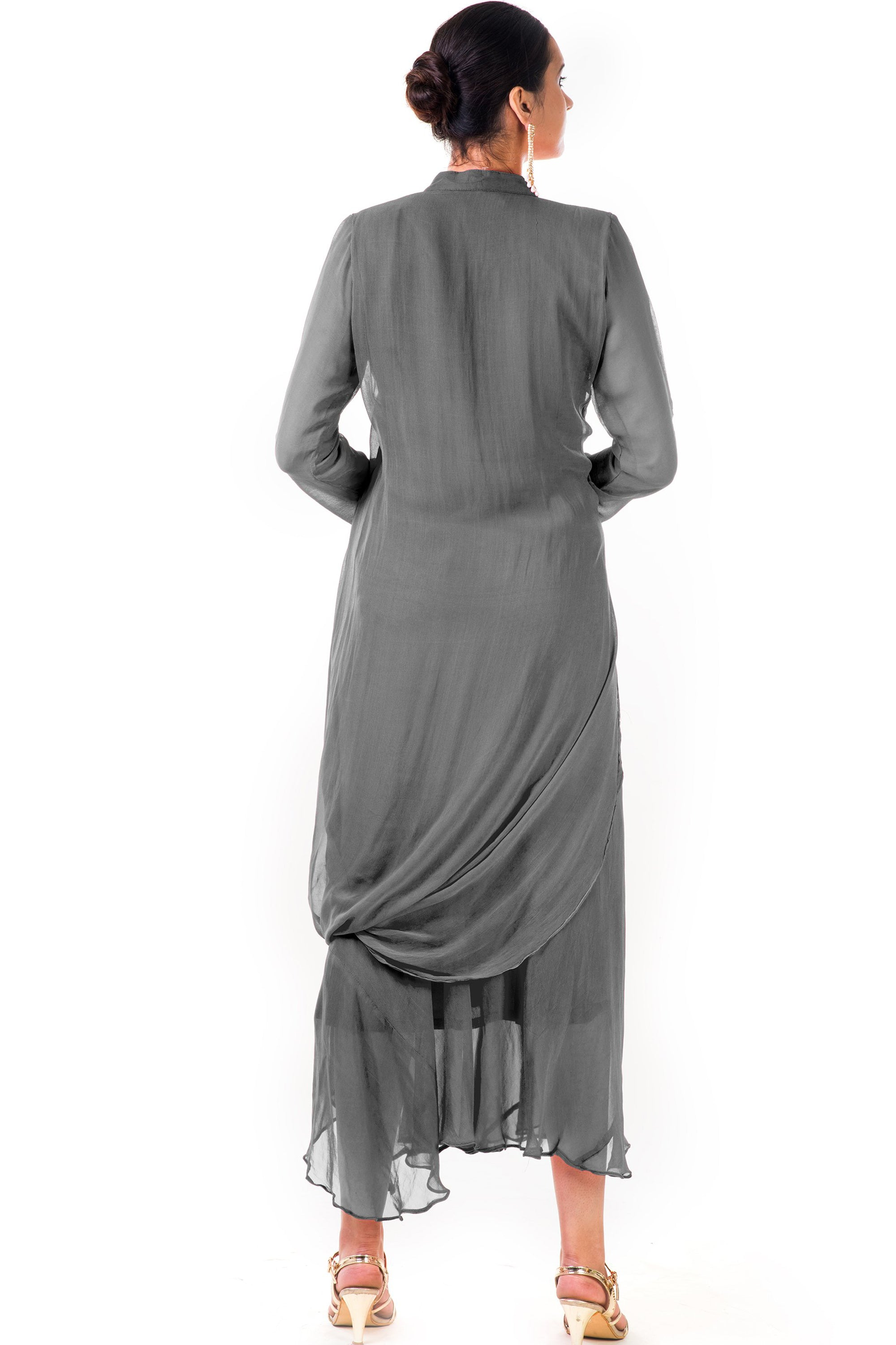 Grey Cowl Tunic Dress Back