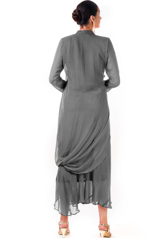 Grey Cowl Tunic Dress